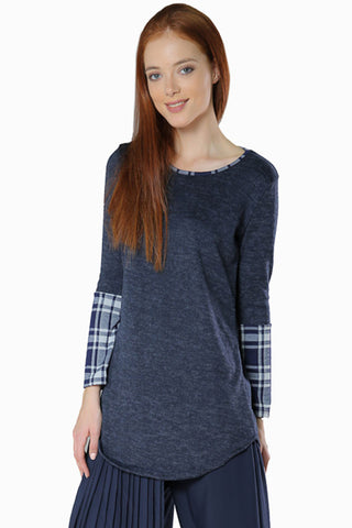 Plaid Sleeve Navy Top - Gingerlining