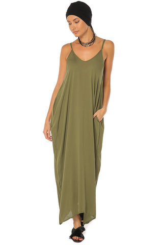 Spaghetti Strap Maxi Dress - Olive