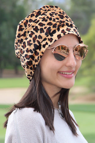 Velvet Simple Drape Turban - Animal Print