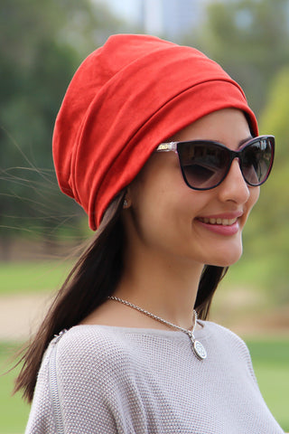 Suede Simple Drape Turban - Dark Red