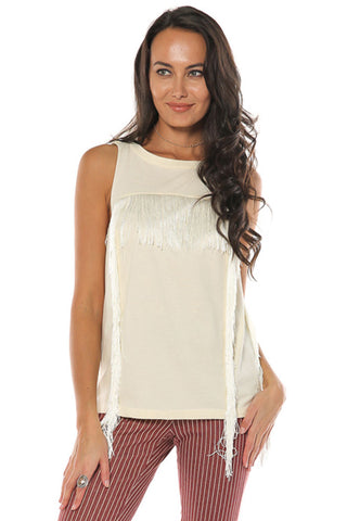 Simply Fringe Top- Cream - Gingerlining (8335373649)