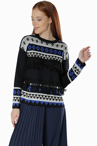 Long Sleeve Sweater- Black - Gingerlining (8335273105)