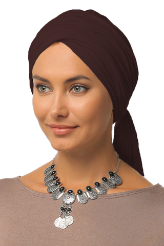 Multi-way Wrap Turban -  Dark Brown - Gingerlining (9760608145)