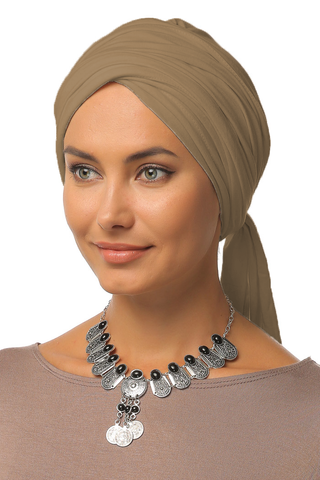 Multi-way Wrap Turban - Mocha - Gingerlining (9888110737)