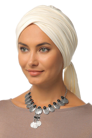 Multi-way Wrap Turban - Off White - Gingerlining