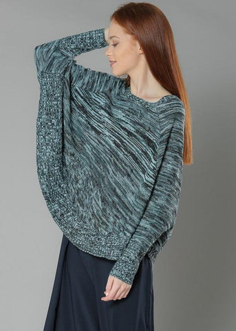 Knit Pullover Poncho- MultiGreen - Gingerlining