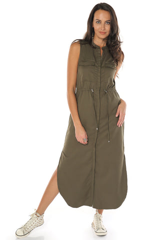 Button Down Dress - Olive
