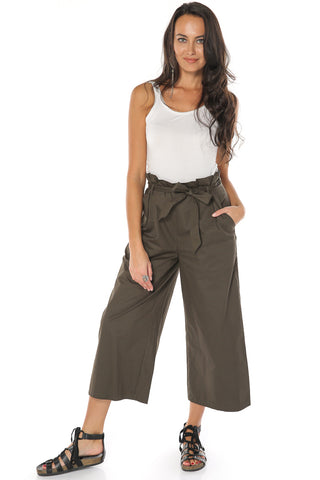 Wide Leg Cropped Pants - Olive - Gingerlining