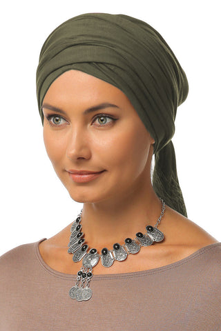 Multi-way Wrap Turban - Olive - Gingerlining