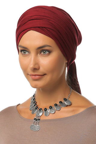 Multi-way Wrap Turban - Burgundy - Gingerlining