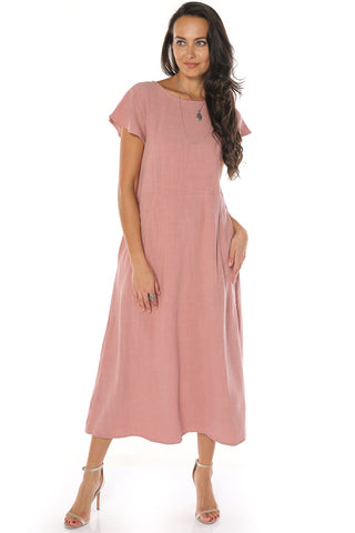Round Neck Linen Dress - Mauve