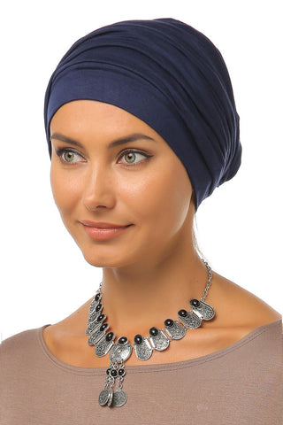 Simple Drape Turban - Navy - Gingerlining