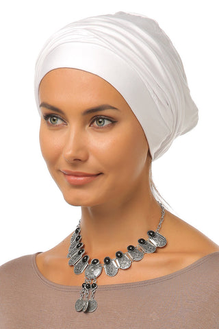 Simple Drape Turban - White - Gingerlining
