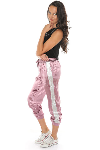 Satin Jogger Pants - Rose Pink - Gingerlining
