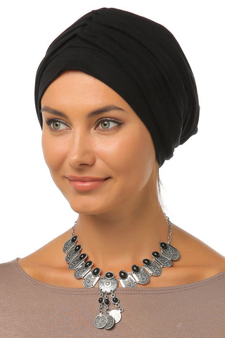 Simple Drape Turban - Black - Gingerlining