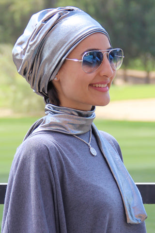Multi-way Wrap Turban -  Metallic Silver