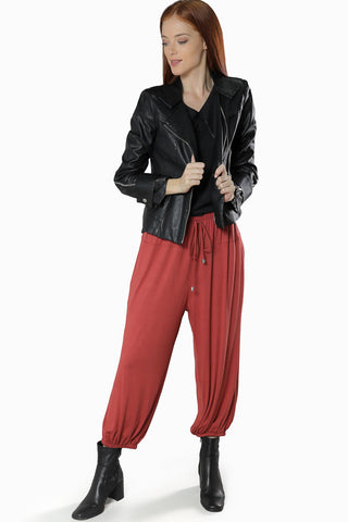 Relaxed Fit Jogger Pants- Marsala - Gingerlining