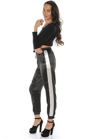 Satin Jogger Pants - Black - Gingerlining