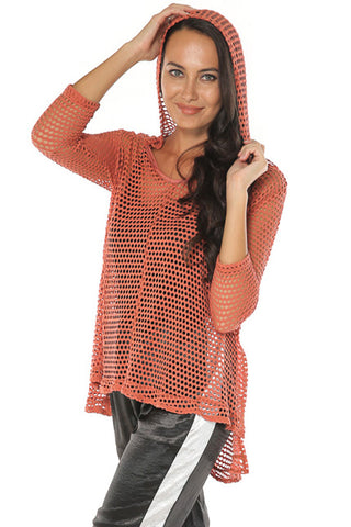 Fishnet Hooded Top - Rust