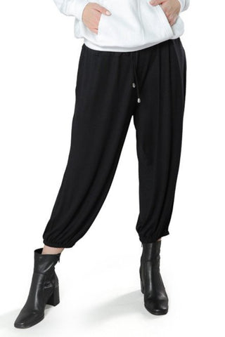 Relaxed Fit Jogger Pants- Black - Gingerlining