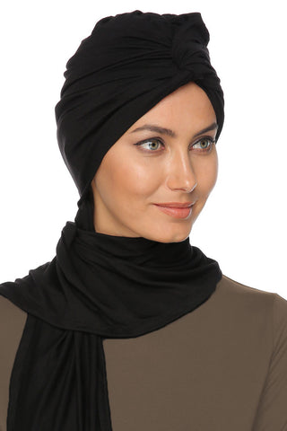 Scarfy Knot Turban - Black - Gingerlining (101955469340)