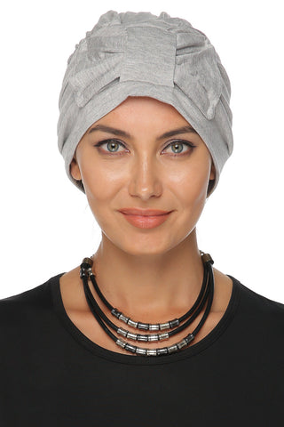Simple Bow Turban - Light Grey - Gingerlining