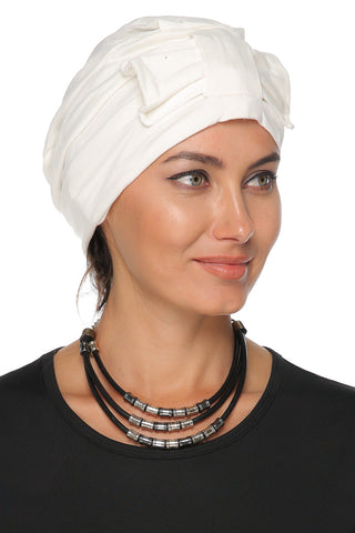 Simple Bow Turban - Off White - Gingerlining