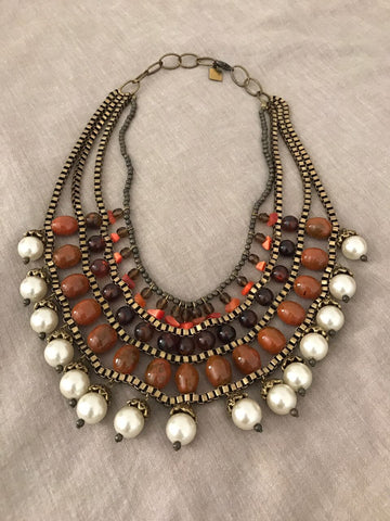 Antique  Stone Layered Necklace - Gingerlining