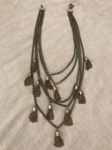 Multi-strand Long Layered Chain Necklace