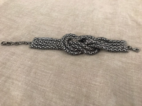Wide Black Silver Chain Bracelet - Gingerlining