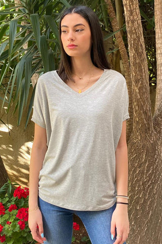 Basic Cotton Jersey V Neck Tee / Grey