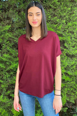 Basic Cotton Jersey V Neck Tee / Maroon (5239560601754)