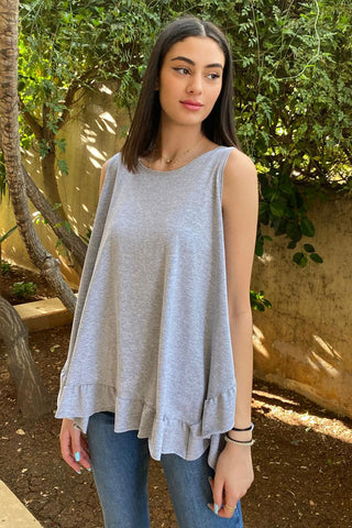 Basic Cotton Jersey Tank With Frill Hem- Grey
