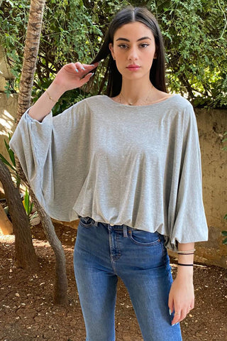 Basic Cotton Jersey Top with Bishop Sleeves- Grey (5239660576922)