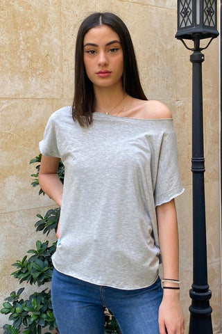 Asymmetrical Cotton Jersey Tee With An Open Neckline and Raw Finished Hems- Grey (5239665819802)