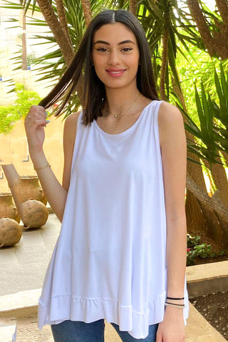 Basic Cotton Jersey Tank With Frill Hem- White