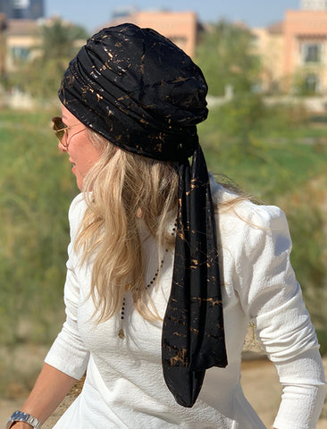 Multi-way Wrap Turban -  Remix Black & Gold