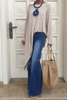 Long Sleeves Asymmetrical Top - Beige (5609691938970)