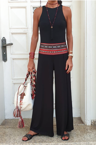 Black Cotton Palazzo Pants - Black/Sadu (5609718087834)