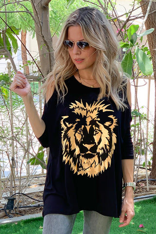 Peek A Boo Top With Lion Face Print - Black