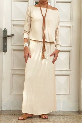 Boat Neck Long Dress (6325613494446)
