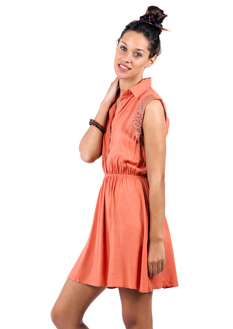 Button Up Dress With Stud Sleeve Detail - Orange