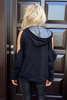 Long Sleeves Loose Fit Hoodie- Black (6233327599790) (6233560187054)