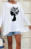 Dolman Top / White With Black Floral Hair Print (5747408076954)