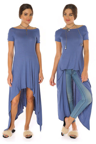Off Shoulder Ribbed dress - Denim - Gingerlining