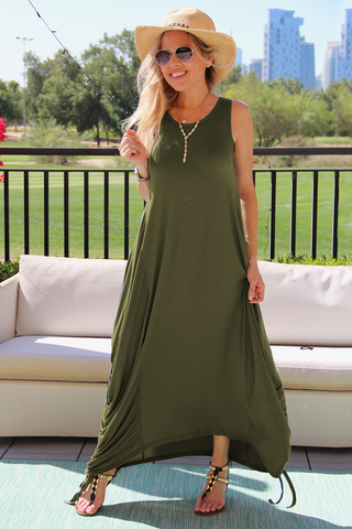 Sleeveless Round Neck Cotton Maxi Dress With Side Ropes - Olive (1677976895532)