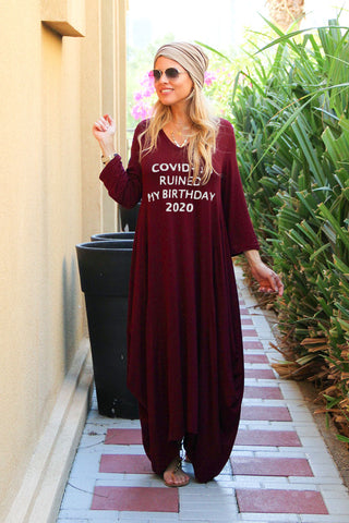 Covid Ruined My Birthday 3/4 Sleeves V-Neck Cotton Maxi Dress - Maroon & Silver Print