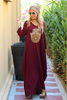 Hamsa Long V-Neck Cotton Dress - Maroon (1822707417132)