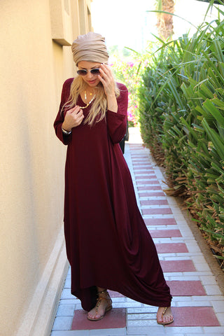 3/4 Sleeves V-Neck Cotton Maxi Dress - Maroon