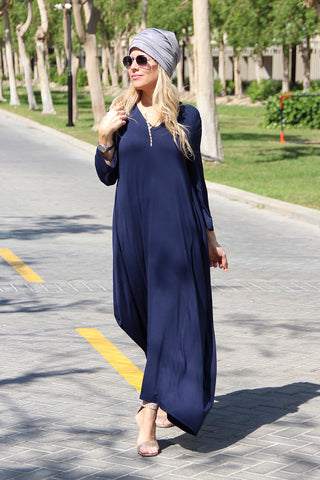 3/4 Sleeves V-Neck Cotton Maxi Dress - Navy (1678004486188)